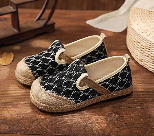 Jskdzfy Zapatos bordados para mujer, de lino y algodón, hechos a mano, cómodos, zapatos planos, informales, sin cordones, color negro, beige (color: negro, talla: 6 UK)