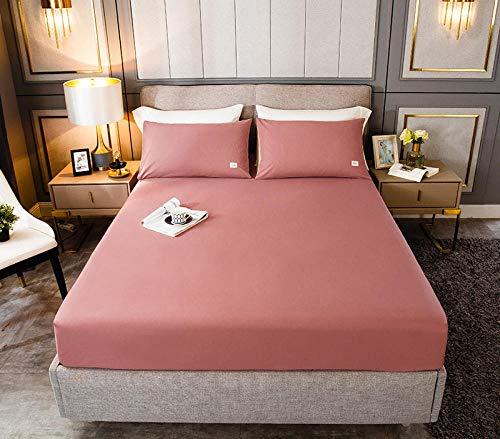 HPPSLT Protector de colchón, algodón, poliéster, Sábana de Cama de Color Puro de una Sola Pieza de Polvo de satén de algodón_150cm × 190cm