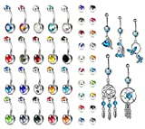 YADOCA 25 Pcs 14G Belly Button Rings 316L Stainless Steel Multicolor CZ Barbell Navel Rings Turquoise Dangle Navel Body Jewelry Piercing