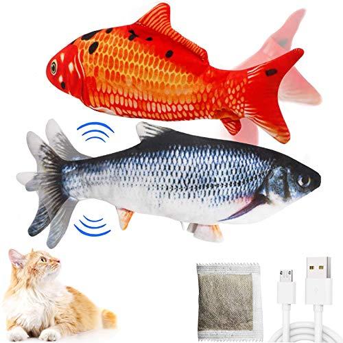 Katzenspielzeug Elektrische Fische (2 Stück) Simulation Elektrisch Spielzeug Fisch mit Katzenminze, Katze Interaktive Spielzeug mit USB Charge, Kauen Spielzeug für Katze zu Spielen, Beißen und Tritt