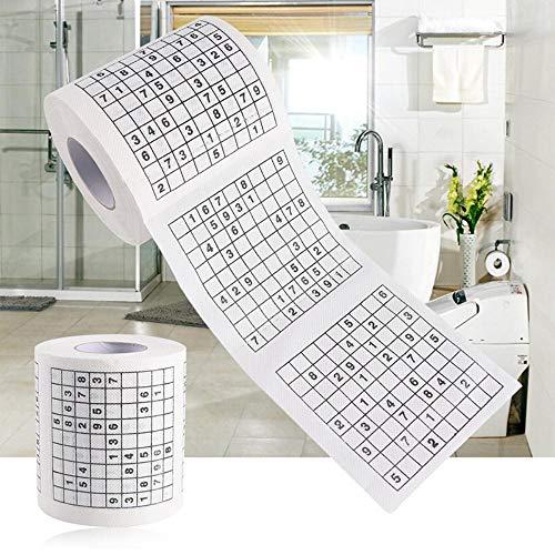 1 rol 2-laags nieuwigheid grappig nummer Sudoku bedrukt wc-bad grappig zacht toiletpapier tissue badkamer benodigdheden cadeau