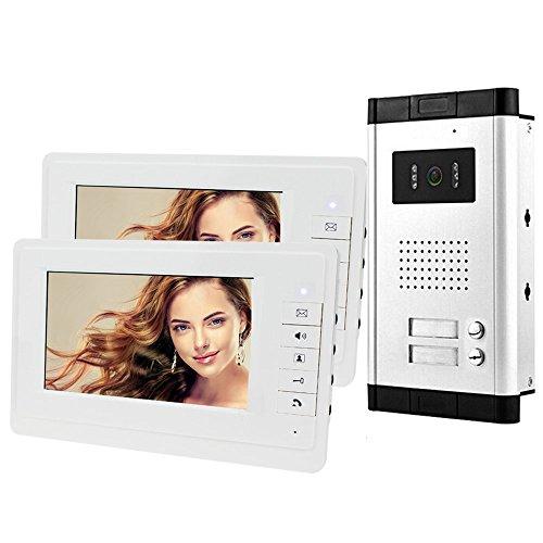HFeng 7 '' de intercomunicación Video portero puerta sistema Kit 700TVL IR Visión nocturna exterior cámara para 2 Apartamentos