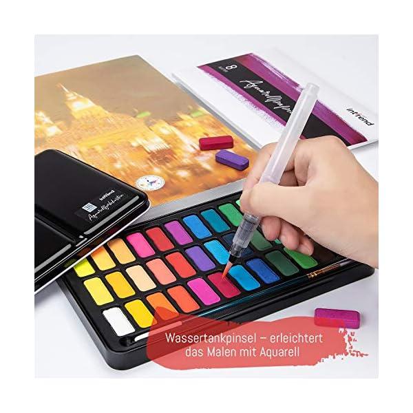 int!rend Acuarelas Profesionales   Set de Pintura de Acuarelas Compuesto por 36 Colores Brillantes, 2 Pinceles Acuarelas, Pincel Nylon, un lápiz y 15 Hojas de Papel para Acuarelas