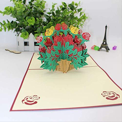 3D-Grußkarte Papier-Schnitt Gravur Origami Hohlblumen Rosen Korb Geburtstag Lehrertag Valentinstag Muttertag Geschenk Hochzeitseinladung