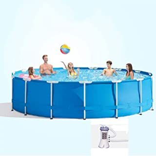 JJZXLQ Paddling Pool Swimming Pool Round Frame Above Ground Pool Pond Family Swimming Pool Metal Frame Structure Pool with Filter Pump 120In×30In