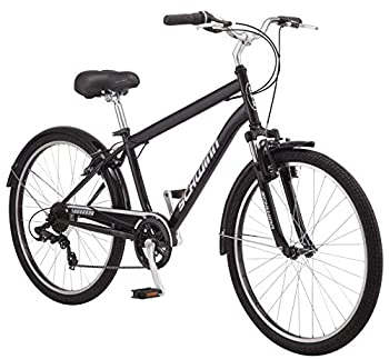 Schwinn Suburban Mens Classic Comfort Bike 26-Inch Wheels 7 Speed Drivetrain 18-Inch Steel Frame Alloy Linear Hand Brakes Black