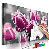 murando Pintura por Números Cuadros de Colorear por Números Kit para Pintar en Lienzo con Marco DIY Bricolaje Adultos Niños Decoracion de Pared Regalos - Tulipanes 60x40 cm DIY n-A-0367-d-a