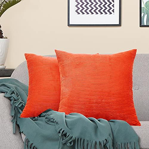 VERCART Juego de 2 Pana Fundas Cojines Decorativas Cuadrado Suave Fundas de Almohada para Sofá Dormitorio Coche Cama Sillas, Naranja 50x50cm