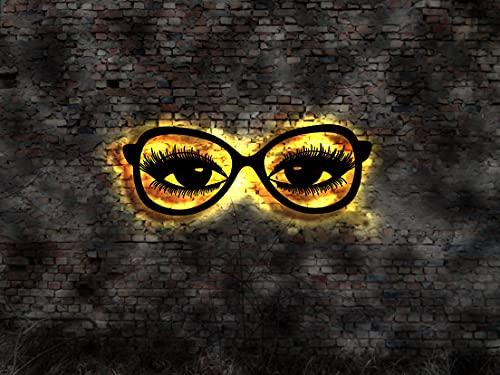 Visor de gafas ópticas, cartel de gafas de sol, oftalmólogo, adhesivo de pared, cartel luminoso, letrero de neón