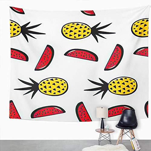 Y·JIANG Tapiz tropical, piñas y sandías hermosa tinta exótica frutas para el hogar, tapiz grande decorativo, manta ancha para colgar en la pared para sala de estar, dormitorio, 60 x 50 pulgadas