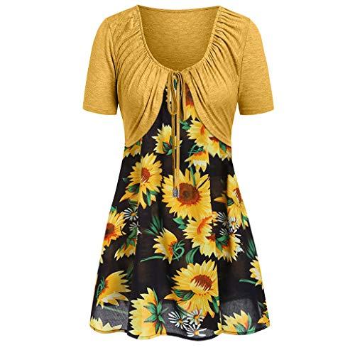 FRAUIT Dames Sunflower print shirt bandage korte mouwen zomerjurken vest tank blouse tuniek pak camisole set