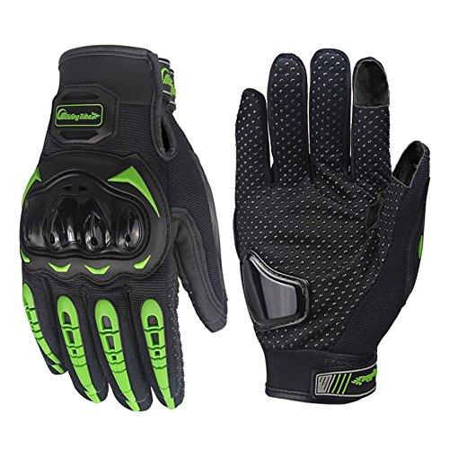 Tomwell Fahrradhandschuhe Radsporthandschuhe rutschfeste und stoßdämpfende Mountainbike Handschuhe mit Signalfarbe geeiget B Grün EU Medium