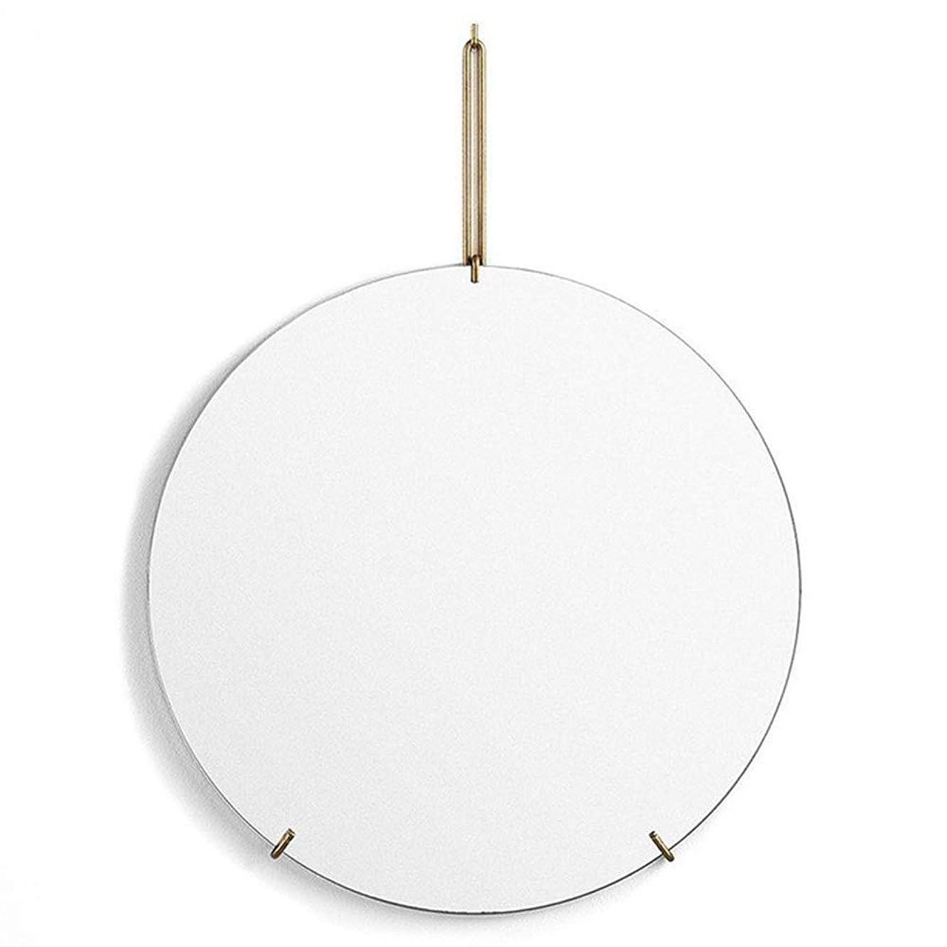 小石シリング哺乳類壁掛け ミラー 吊鏡 円形 金属 浴室 リビングルーム シンプル 北欧 (色 : ゴールド, サイズ : 50cm)