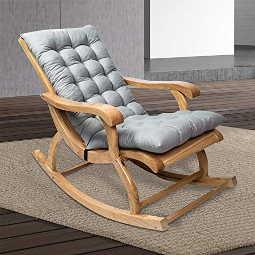 Relax love Rocking Chair Cushion 47'' x 20'' Non-Slip Sun Lounger Cushions High-Backed Pad Thick Extra Large Relaxer Seat Mat Garden Deck Chair Cushion with Rubber Band and Buckle (Grey)