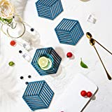 WZZ Placemats Blue Splicing Placemat PVC Magas de Mesa Resistente al Calor Fácil de Limpiar Limpieza a Prueba de Agua Cocina Lavable Mesa de Patio