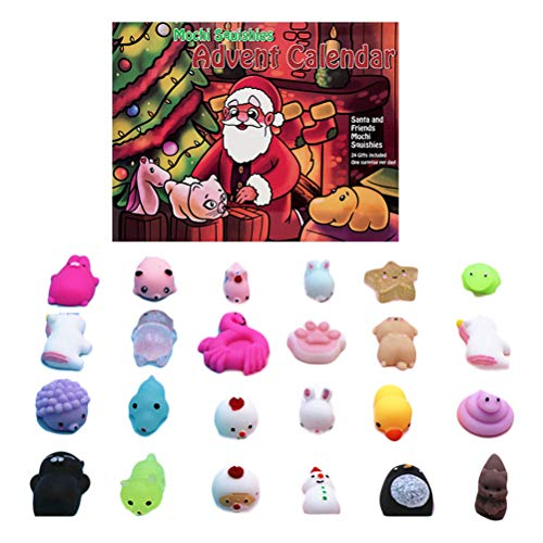 Weihnachten Toy -für Mädchen und Jungen Kinder Erwachsene 24Pcs Verschiedene Mochi Tiere Spielzeug gehören Schneemann und Santa Avatar