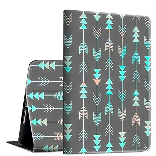 iPad 9.7 2018/2017 Case,iPad Air 2/iPad Air Case, Rossy PU Leather Folio Smart Cover Shock Case with Adjustable Stand & Auto Wake/Sleep Feature for Apple iPad 6th/5th Gen,Blue Gray Arrows