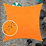 ColourTree 14' x 14' Orange Square Waterproof Sun Shade Sail Canopy Awning Shelter Fabric Screen, 95% UV Blockage UV & Water Resistant, for Outdoor Patio Garden Carport (We Make Custom Size)