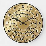 Teisyouhu Metallic Gold Circle of Fifths Chord Wheel Wood Wall Clock 12 inch for Room Decor