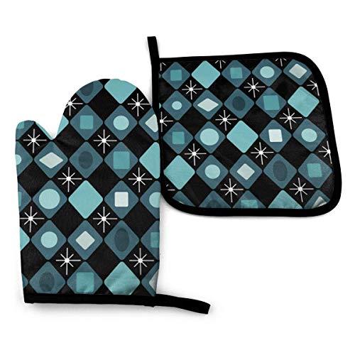Mitt y Potholder, Mid Century - Juego de guantes de horno y soporte para ollas y guantes de horno modernos de color negro turquesa con diamantes de color negro, anticalor, antideslizante con textura