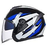 Esentia Casco Jet para Motocicleta ECE-Casco de Doble Lente para Motocicleta con Visera Solar, Adecuado para Hombres y Mujeres Adultos con Medios Cascos Ligeros,E,M(55~57cm)
