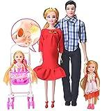 Familienpuppen-Set von 4 Personen-schwangere Puppe mit Baby im Bauch, Mama, Papa, Junge & Mädchen,...