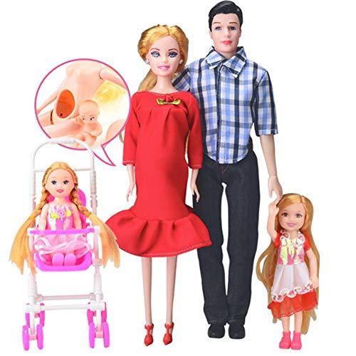 Familienpuppen-Set von 4 Personen-schwangere Puppe mit Baby im Bauch, Mama, Papa, Junge & Mädchen, Puppenzubehör für Bildung und Weihnachtsgeschenk