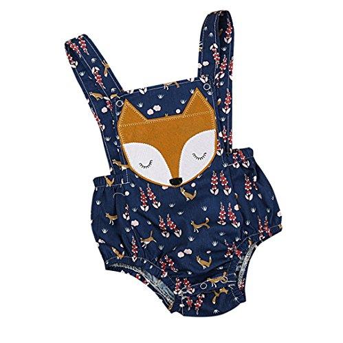 Fossen Bebe Peleles Patrón de Fox Monos para Recien Nacido Niña Niño 0-24 Meses Ropa Verano (0-6 Meses, Azul)