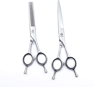 Professional 6 inches High-End Twin Tail A Style Razor Edge Hair Cutting Thinning Shears/Scissors Set for Barber/Salon/Home/School-Barber Tools