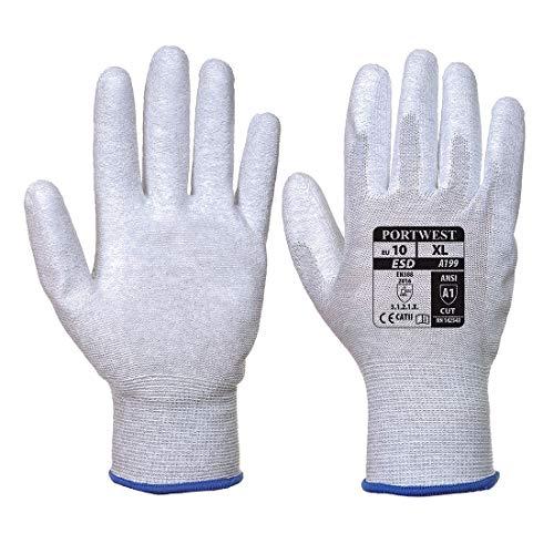 Portwest A199 - Antiestático Guante PU palma, color Gris, talla XL