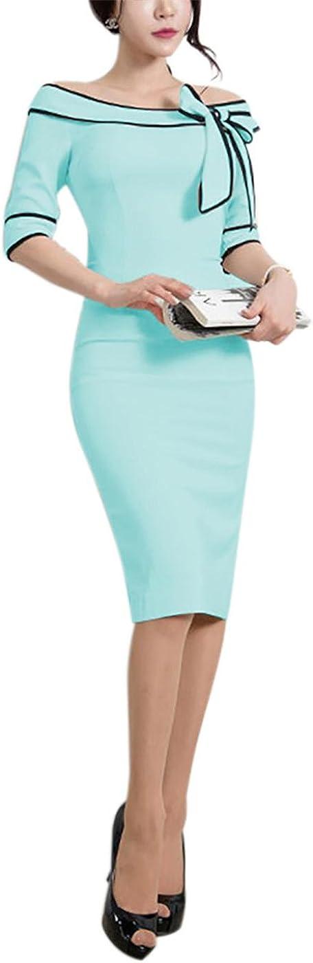 Women's 1950s Vintage Half Sleeve Wear to Work Casual Business Office Pencil Sheath Dress 172