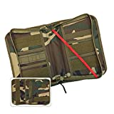 Military Style Medium Bible Cover & Organizer for Men - Personalize Your Camo Bible Case with Morale Patches That Reflect Your Beliefs. (Woodland Camouflage)