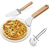 Gifort Pizzaschieber Pizzaschaufel Edelstahl + Pizzaheber mit Holzgriff +Pizzaschneider Qualitäts 430 Edelstahl zum Backen Hausgemachte Pizza und Brot Kuchen & Kekse