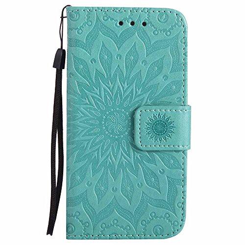 Custodia Galaxy S5 Mini, Dfly Premium PU Goffratura Mandala Design Pelle Chiusura Magnetica Protettiva Portafoglio Custodia Super Sottile Flip Cover per Samsung Galaxy S5 Mini, Verde