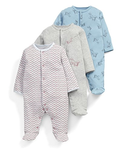 Mamas & Papas Baby-Jungen Strampler 3Pk Fly Away Aio, 3er Pack, Mehrfarbig, 0-3 Monate