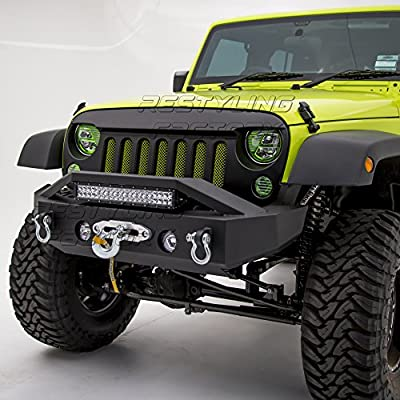 "Restyling Factory -Black Textured Rock Crawler Stubby Front Bumper with OE Fog Light Hole, Built-In 21"" ~ 22"" LED Light bar mount, Winch Mount Plate for 07-17 Jeep Wrangler JK"