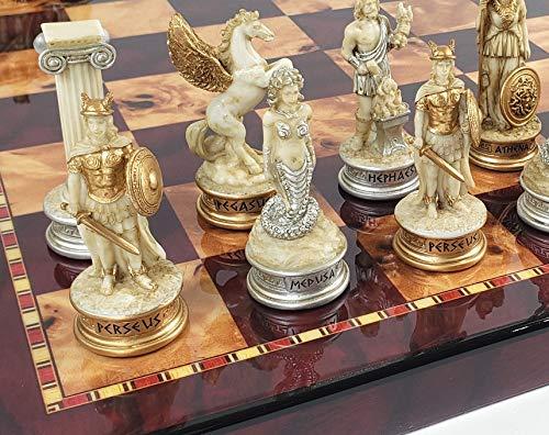 Greek Mythology Olympus Gods Zeus vs Poseidon Antique White Chess Set with 18 inch Cherry and Burlwood Color Board