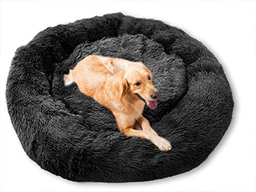 Oversized Round Dog Bed, Pet Shaped Bed Plush Warm Cushion Donut Hug Cat and Dog Sofa, Winter,XXL-120cm-Black