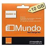 Orange - Tarjeta SIM Prepago (Mundo-10) 10 GB en España | Llamadas Nacionales ilimitadas | 5,5 GB Roaming en Europa | Activación Solo Online | Velocidad 4G