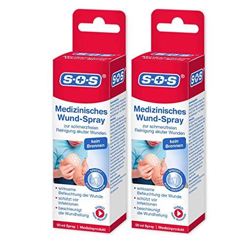 SOS Medizinisches Wund-Spray, zur schonenden Wundreinigung bei akuten Verletzungen, beschleunigt die Wundheilung und wirkt abschwellend, Wundversorgung mit Infektionsschutz, 2 x 50 ml Sprühflasche