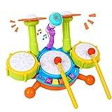 Rabing Kinder Schlagzeug Set, Drum Set für Kinder mit 2 Drumsticks 1 Mikrofon mit Licht & Hintergrundmusik Spielzeug Elektrische Trommel Musikinstrumente Spielzeug Geschenk für Jungen Mädchen