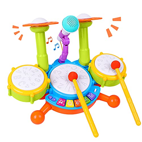 Kids Drum Set, Rabing Electric Musical Instruments Toys with 2 Drum Sticks,...