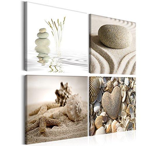 murando Quadro Spa Zen Pietra 40x40 cm 4 pezzi Stampa su tela in TNT XXL Immagini moderni Murale Fotografia Grafica Decorazione da parete Natura Spiaggia 9060093