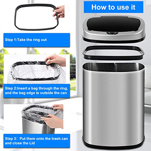 13 Gallon Kitchen Trash Can Garbage Can Waste Bin with Lid Automatic Touchless Stainless Steel Durable Trash Can for Home Office Living Room Bedroom, 50 Liter