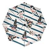Tizorax - Paraguas plegable con diseño de pájaros y flores en rayas, resistente al viento, con botón de cierre automático