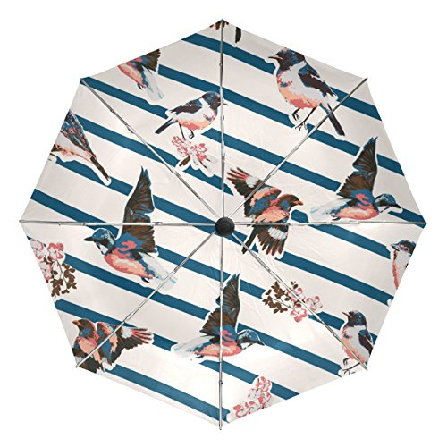 TIZORAX Vogels met Bloem Op Streep Winddicht Opvouwbare Regen Reisluifel Paraplu Auto Open Sluitknop