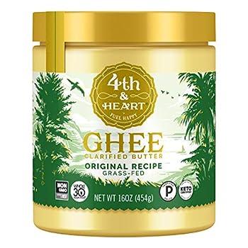 4th & Heart Original Grass-Fed Ghee Keto Pasture Raised Non-GMO Lactose Free Certified Paleo -16 Ounce