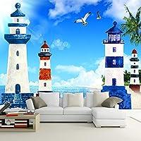 地中海スタイルの3D漫画灯台海の風景写真壁画壁紙リビングルーム子供部屋不織布壁紙壁画-400X280cm(157.48by110.23in)