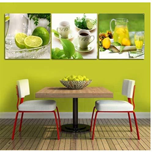 Canvas Foto Prints Citroen Thee Muur Foto Canvas Schilderijen Wanddecoraties Kunst Schilderijen 40X40CM X3Geen Frame