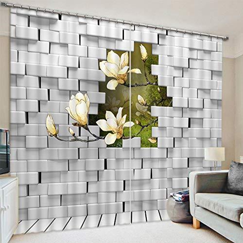 Ruifulex Blickdicht Vorhangmit schlaufen Verdunkelungsvorhänge 3D Fenstervorhang Villa Home Decoration Personalisierter Druck, weiße Blumen auf grauem BacksteinWand Breite 300 x Höhe 270cm